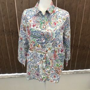 Alfred Dunner Multi-Color Floral 3/4 Sleeve Blouse